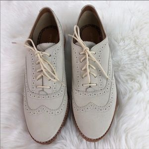 NWOT Sperry Wing Tip Lace Shoes Cream Sz 8.5